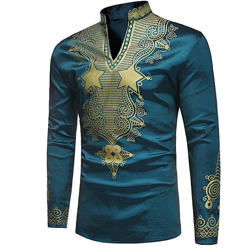 194fca5ac3ff3c Generic African Fashion 2019 Summer Fashion Dashiki Men s Long Sleeve  Printed T-shirts Casual High Collar Tops